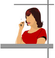 young woman smokes vector image