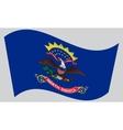 Flag of North Dakota waving on gray background vector image