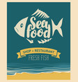banner for seafood restaurant or shop with fish vector image