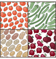 Set of seamless patterns with vegetables vector image