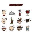 restaurant cartoon concept icons vector image