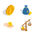 coin icon set isometric style vector image