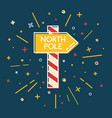 colored north pole waypost icon in thin line style vector image