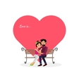 Happy Valentine Day Couple Sitting on Bench vector image