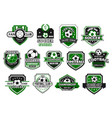 soccer sport club and football team shield badge vector image