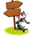 A panda beside the wooden arrowboards vector image vector image