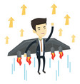 business man flying on the rocket to success vector image