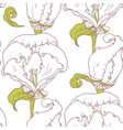 Abstract outline floral seamless pattern vector image