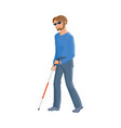 blind caucasian man in glasses with a walking cane vector image