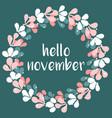 hello november wreath card vector image