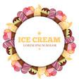 ice cream round banner - sweet dessert vector image