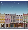 Old street town Christmas background vector image
