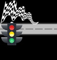 Traffic light with checkered flag and road vector image