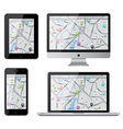 Isolated gadgets with street map vector image