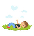 sweet little boy lying on a grass and dreaming vector image vector image
