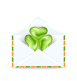 Envelope with clover isolated on white background vector image