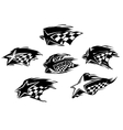 Set of black and white motor sport icons vector image