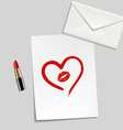 heart drawn in lipstick and lip imprint vector image vector image