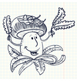doodle smiling muchroom character vector image vector image
