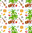Seamless summer objects and coconut tree vector image vector image