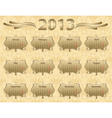 2013 calendar year in vintage style vector image vector image