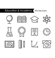 Education and academy thin line outline icons vector image