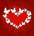 Cute postcard with heart made in paper butterflies vector image
