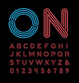 Neon font alphabet with neon effect letters and vector image