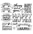 Hand draw Set Christmas and Happy New Year vector image