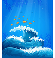 A wave and fishes under the sea vector image vector image