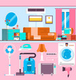 bright living room interior design with large vector image