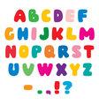Color flat artistic alphabet font vector image
