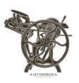 Letterpress printing machine vector image