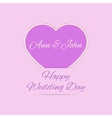 Wedding Day card with purple heart vector image