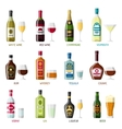 Alcohol drinks icon set Bottles glasses for vector image