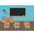 Empty school classroom with blackdesk pupils vector image