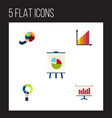 flat icon chart set of monitoring pie bar easel vector image