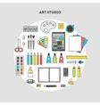 Set of flat icons for design art studio vector image