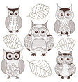 set of isolated monochrome owls vector image