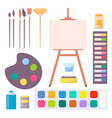 various art supplies set isolated vector image