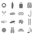 Water sport icons set black monochrome style vector image