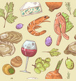 french cuisine hand drawn seamless pattern vector image