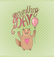 groundhog day gift card hand drawn beautiful vector image