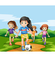 Girls playing soccker in the park vector image vector image