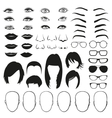 Woman face parts eye glasses lips and hair vector image vector image