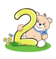 number two and jolly bear vector image