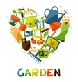 Background with garden design elements and icons vector image