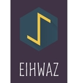 Eihwaz rune of Elder Futhark in trend flat style vector image