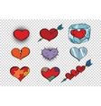 set of Valentine hearts on a transparent vector image