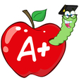 Worm In Red Apple With Graduate Cap vector image